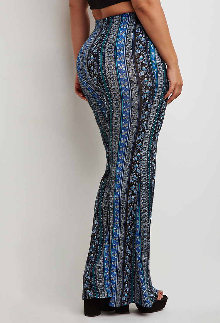 Forever 21 Plus Size Floral Paisley Flared Pants In Black