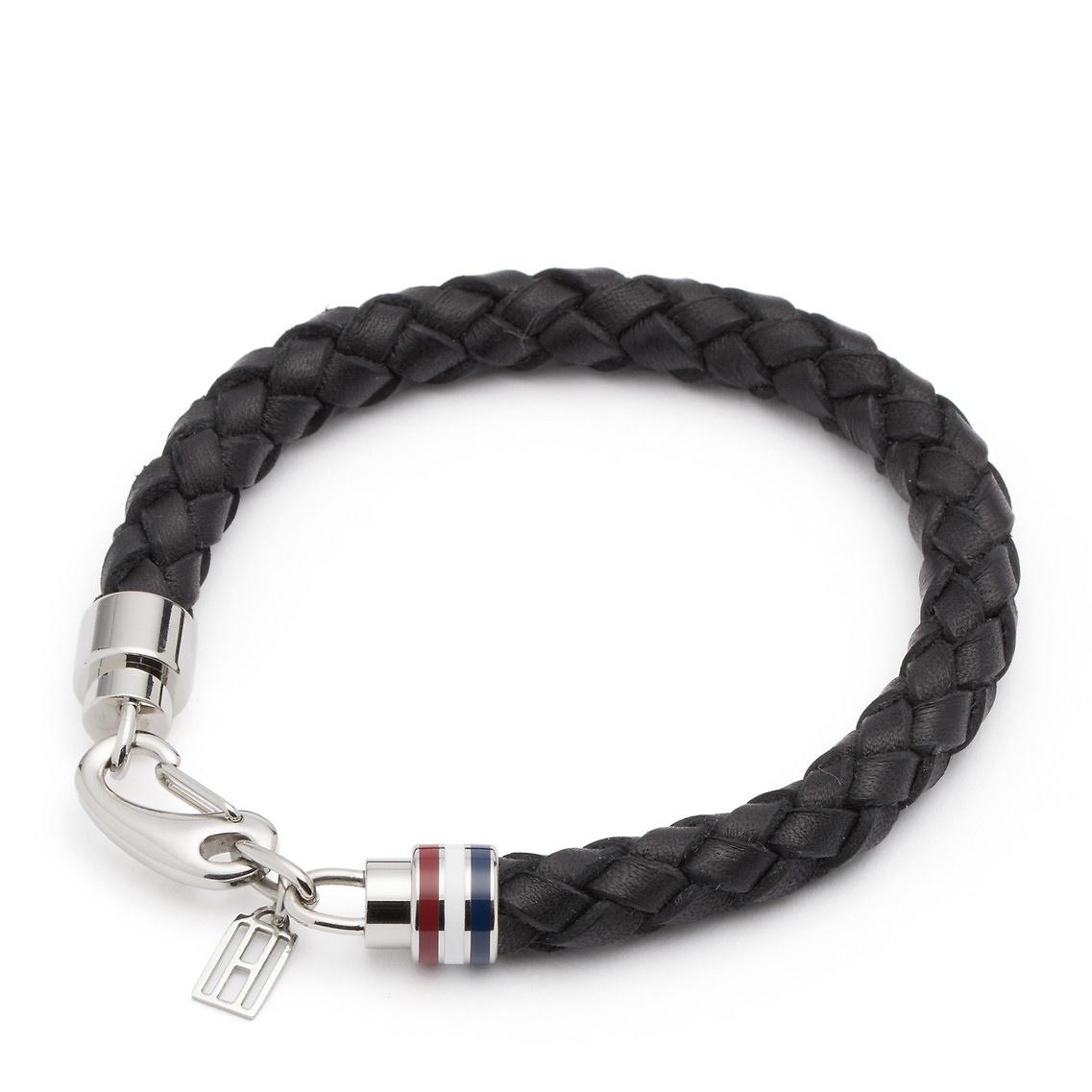 ba6fce152aaee Tommy Hilfiger Black Leather & Chain Bracelet for men