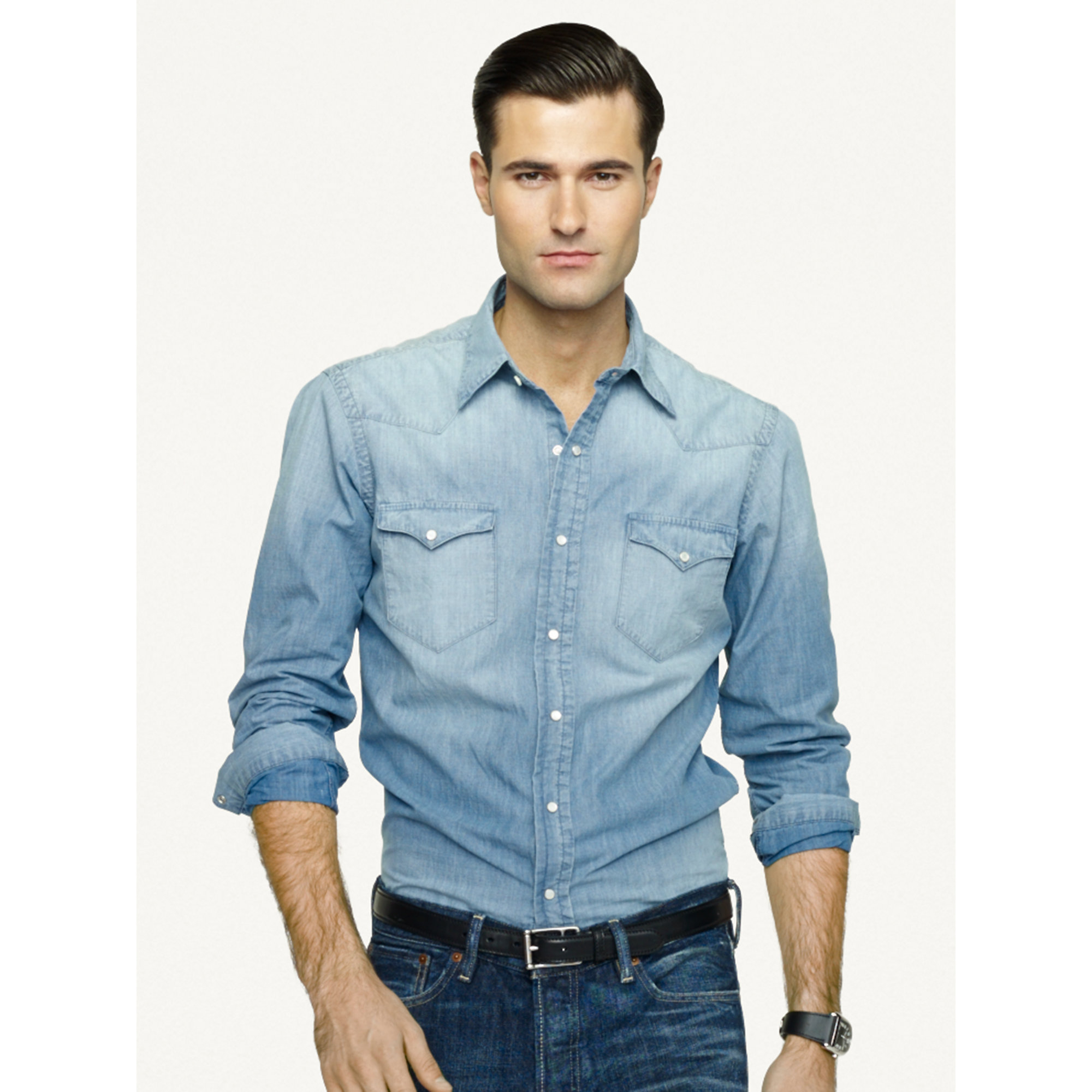 55ca945220 Lyst - Ralph Lauren Black Label Chambray Western Shirt in Blue for Men