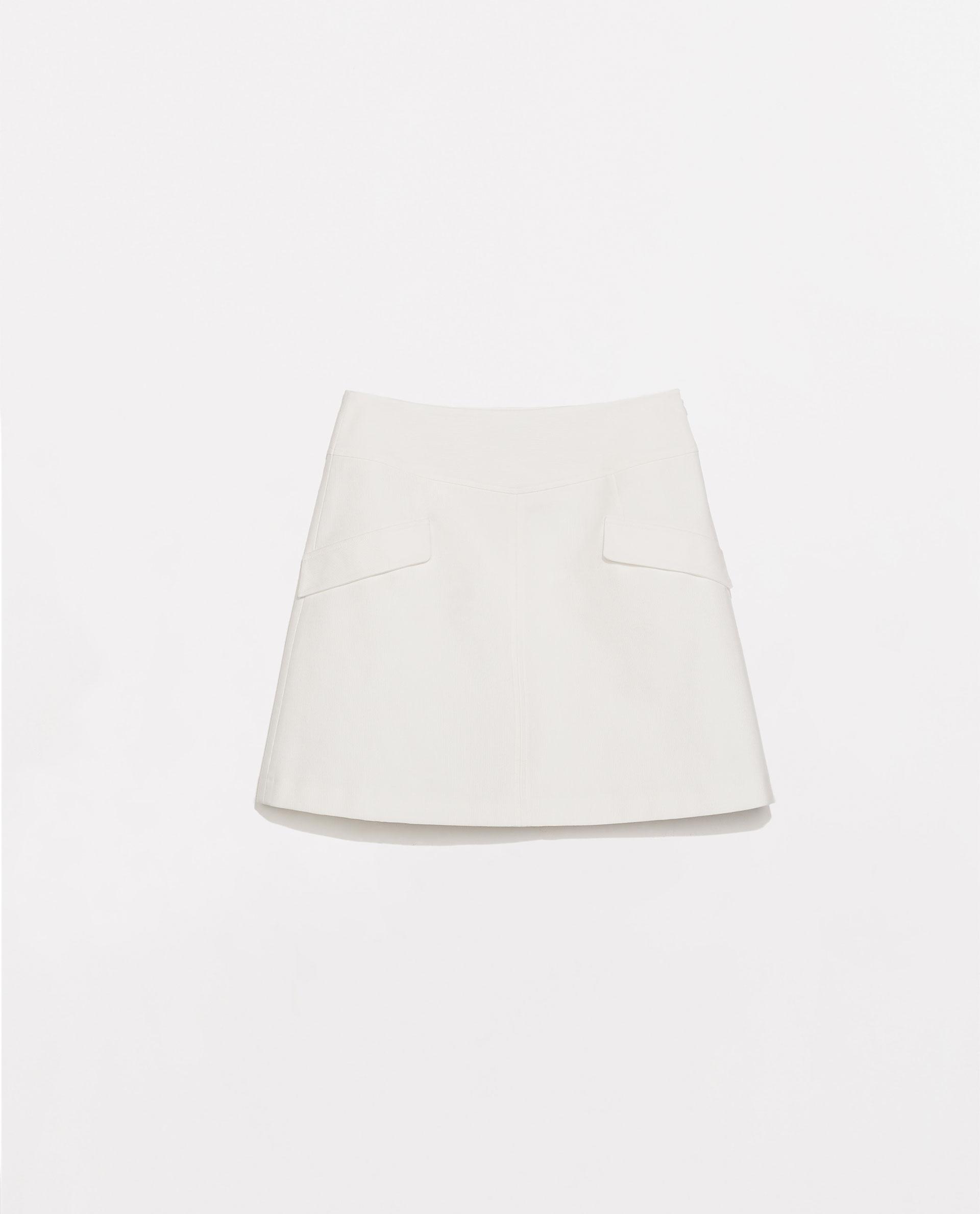 Zara A-Line Skirt in White | Lyst
