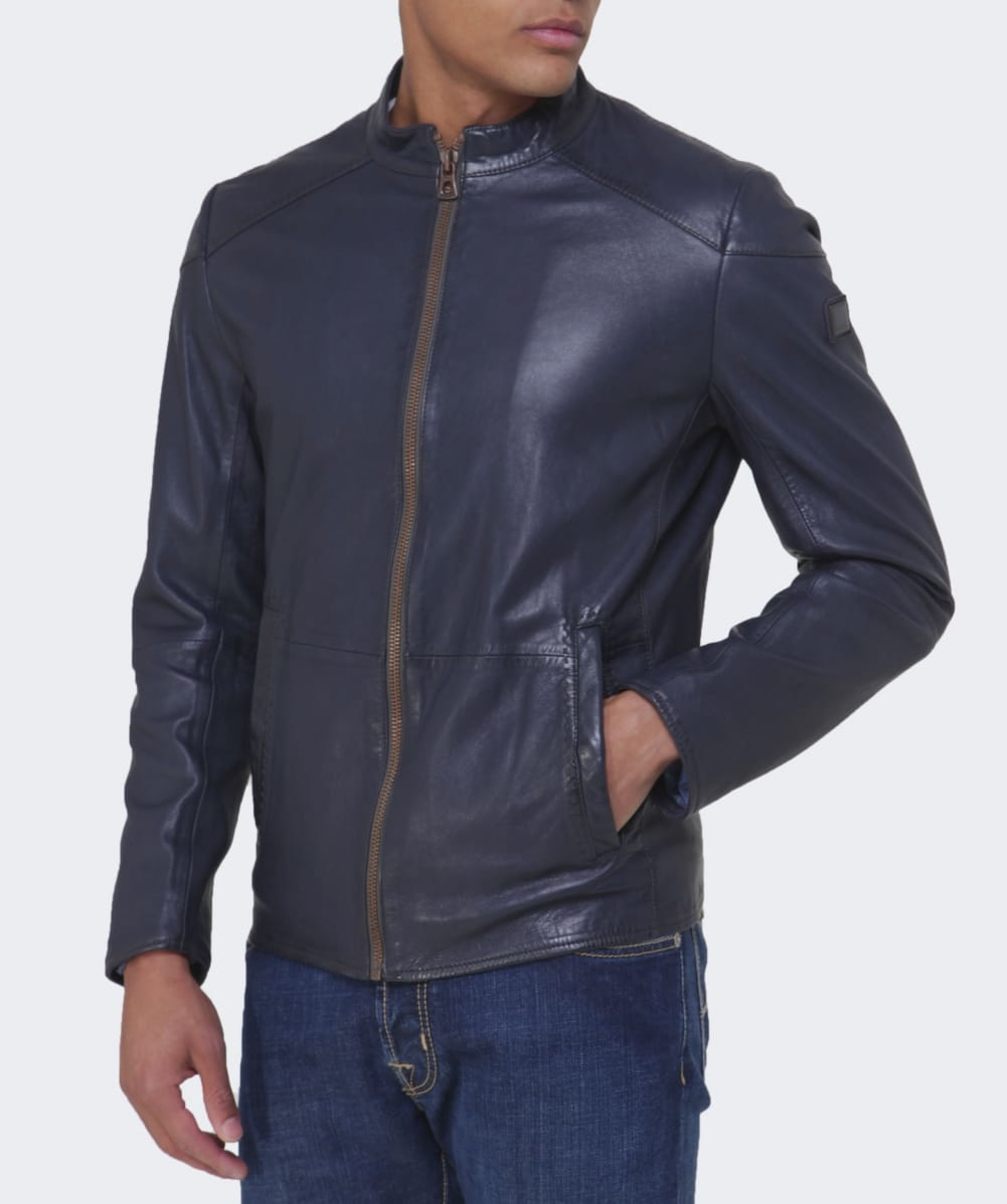 boss orange jermon leather jacket in black for men lyst. Black Bedroom Furniture Sets. Home Design Ideas