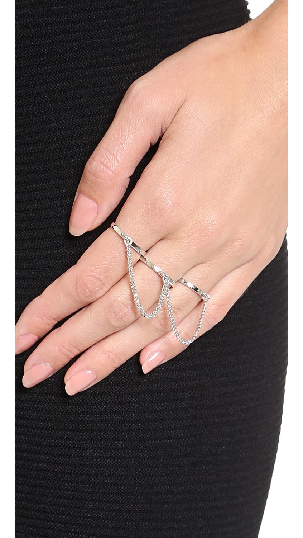 Eddie Borgo Three Finger Ring - Silver in Metallic
