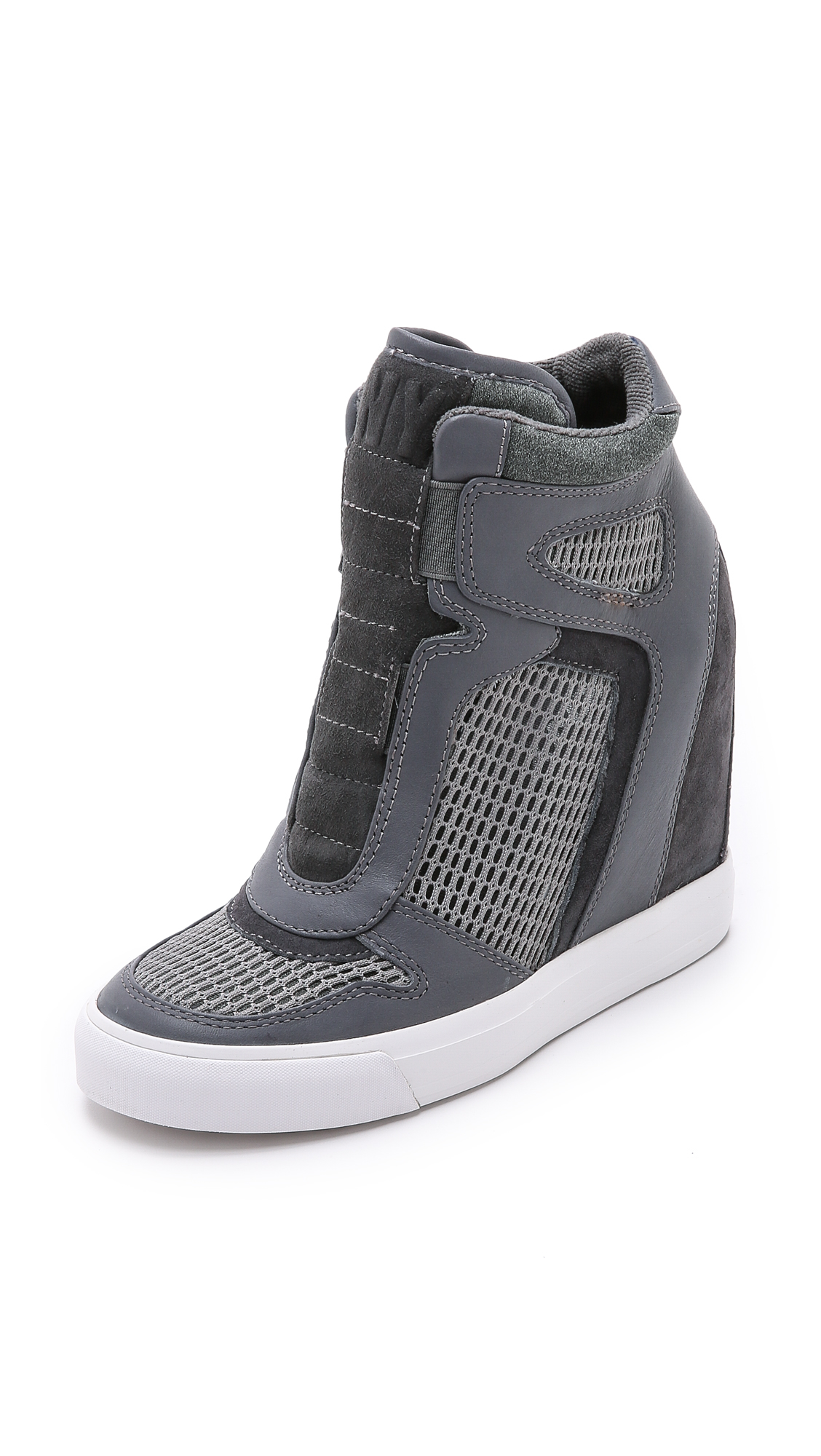 dkny grand wedge sneakers greycharcoal in gray lyst