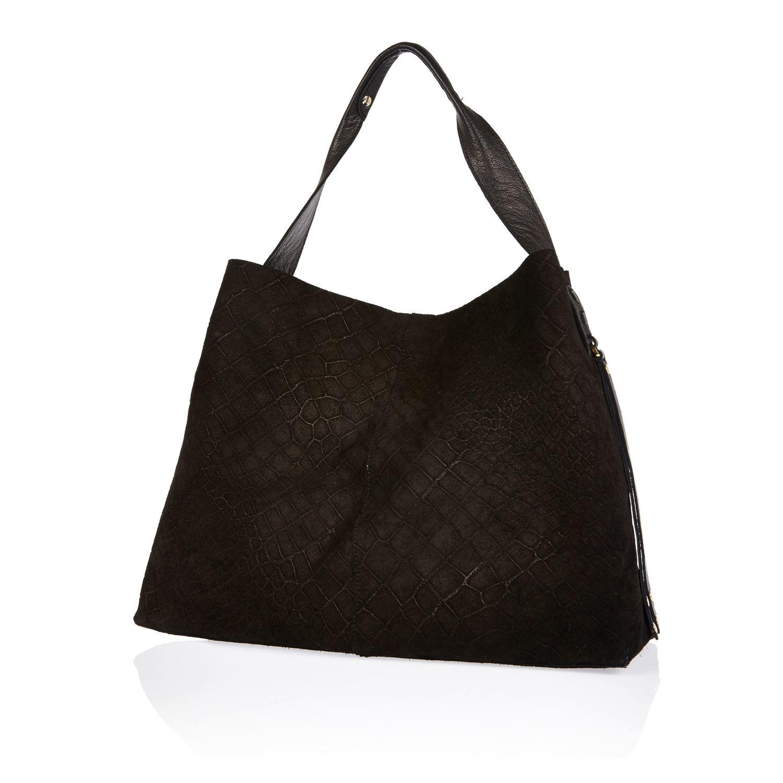 River Island Black Suede Large Handbag