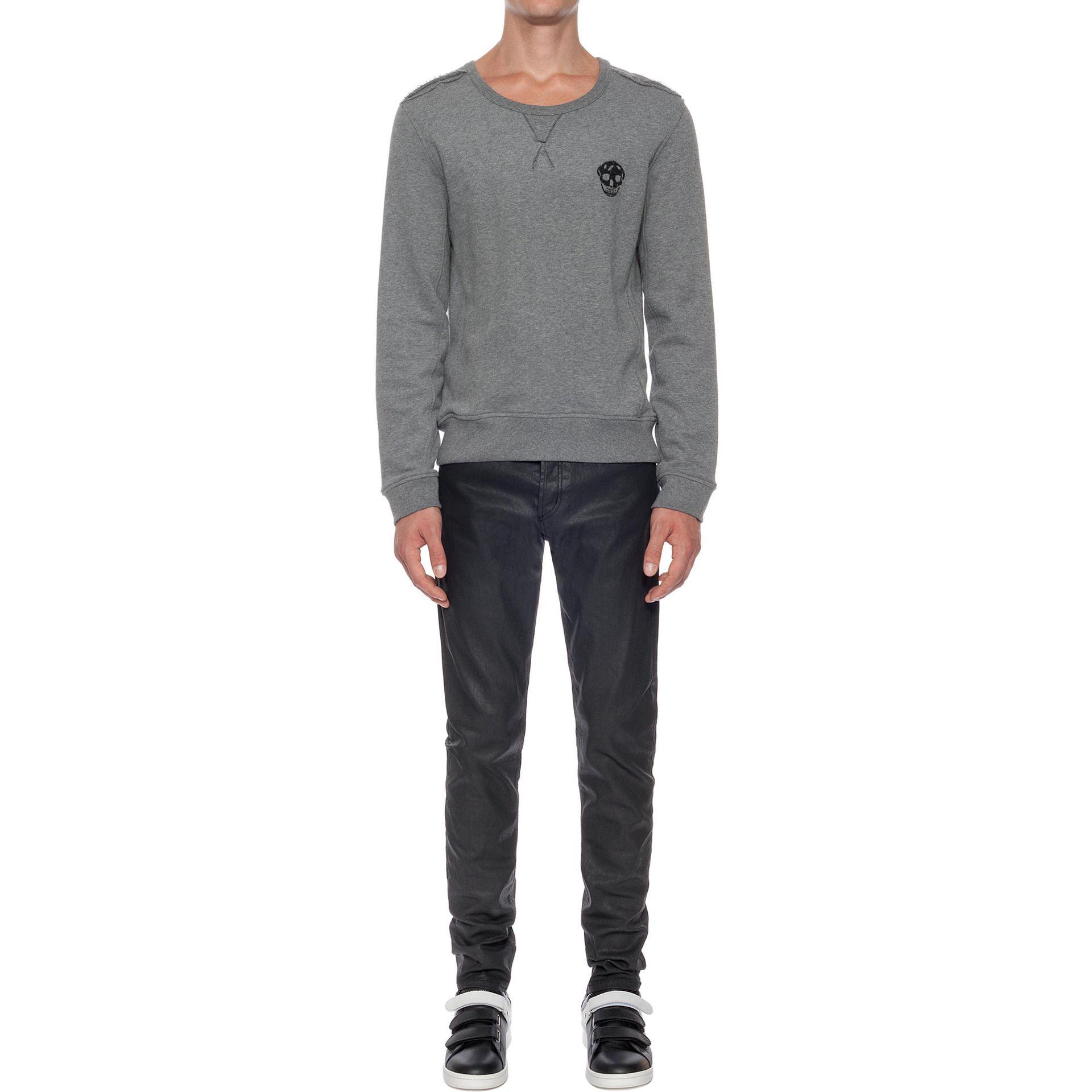 alexander mcqueen embroidered skull sweatshirt in gray for men grey lyst. Black Bedroom Furniture Sets. Home Design Ideas
