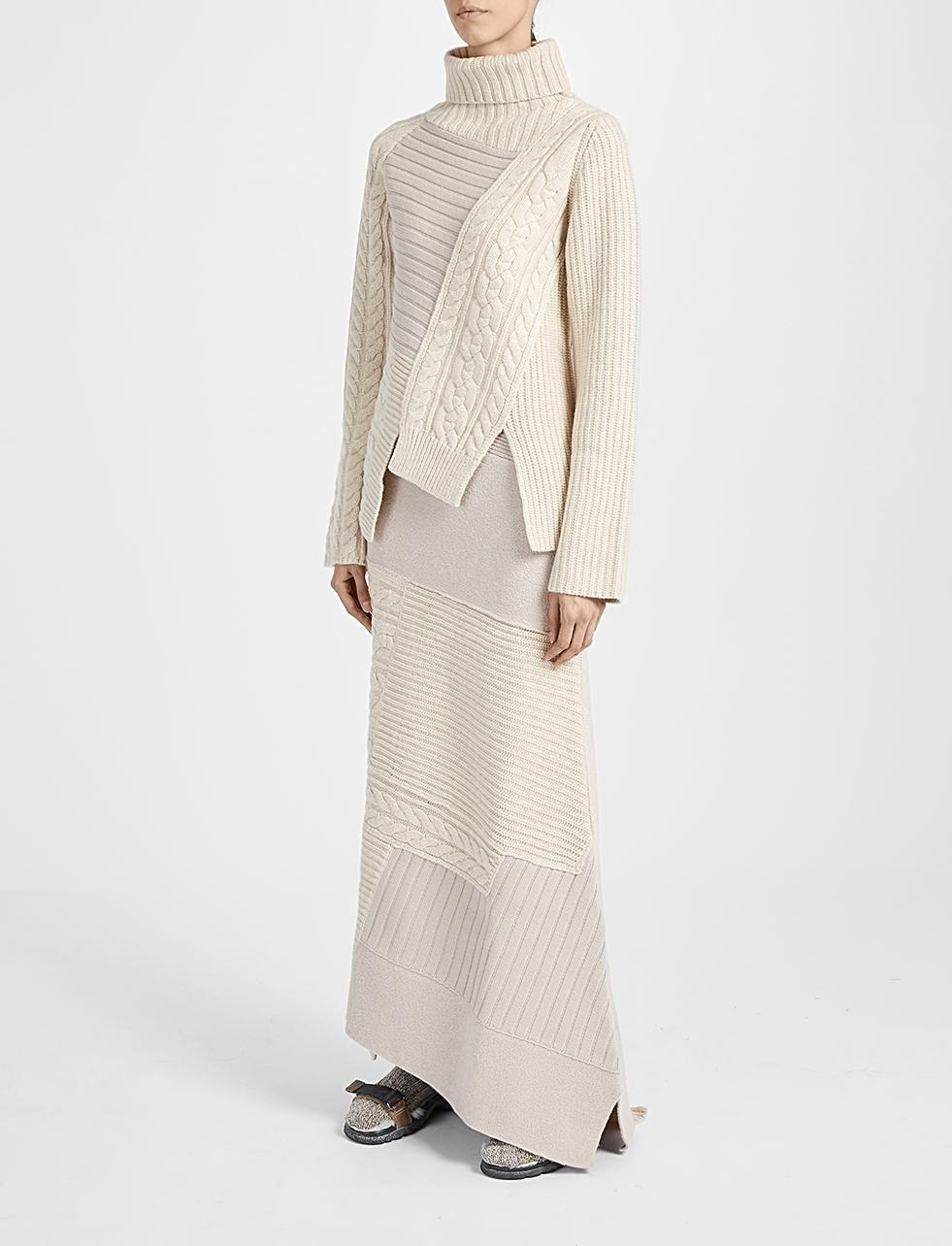 Joseph Patchwork Knit Long Sweater Skirt in Natural | Lyst