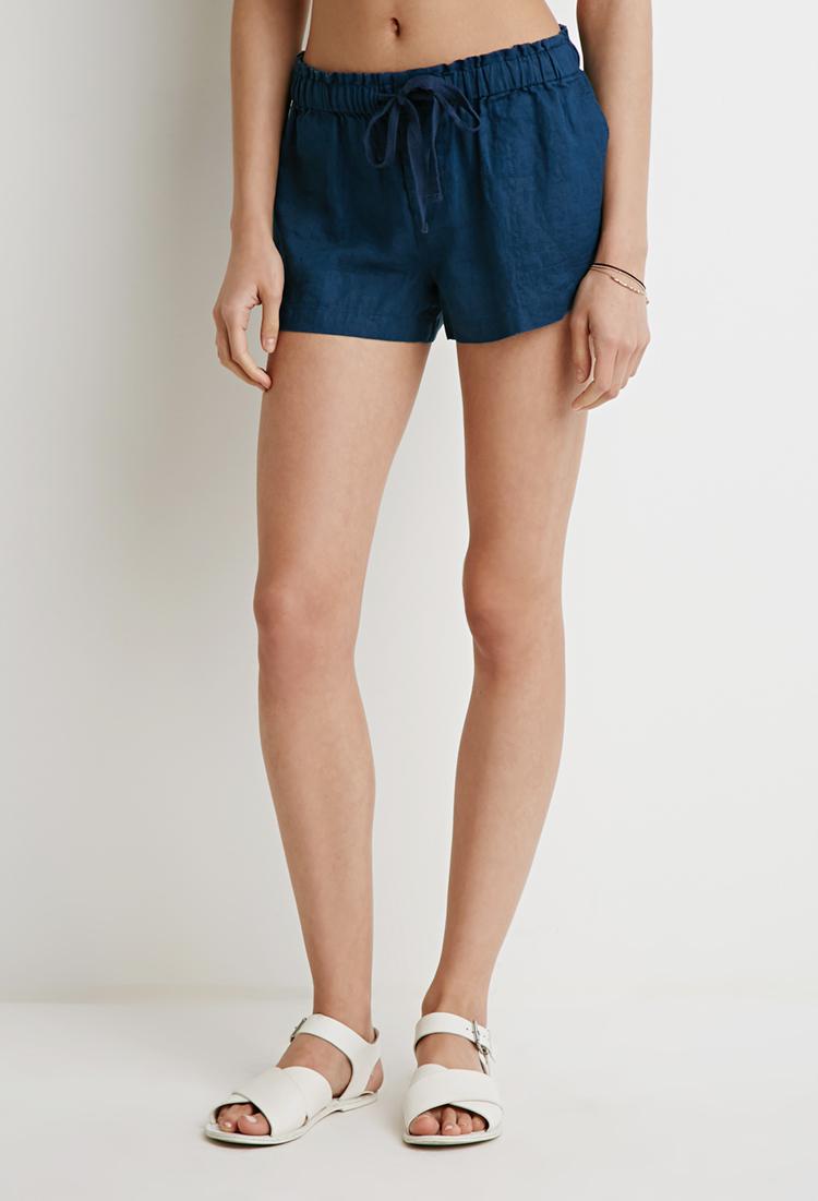 Forever 21 Linen Drawstring Shorts in Blue | Lyst