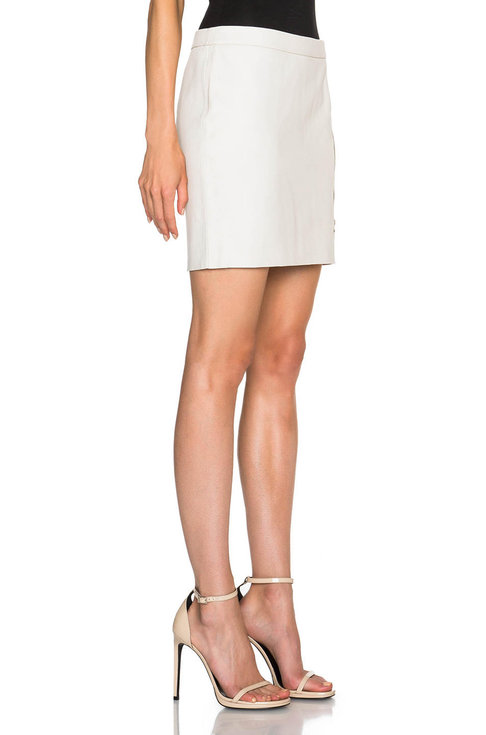 pam gela zip leather skirt in white lyst