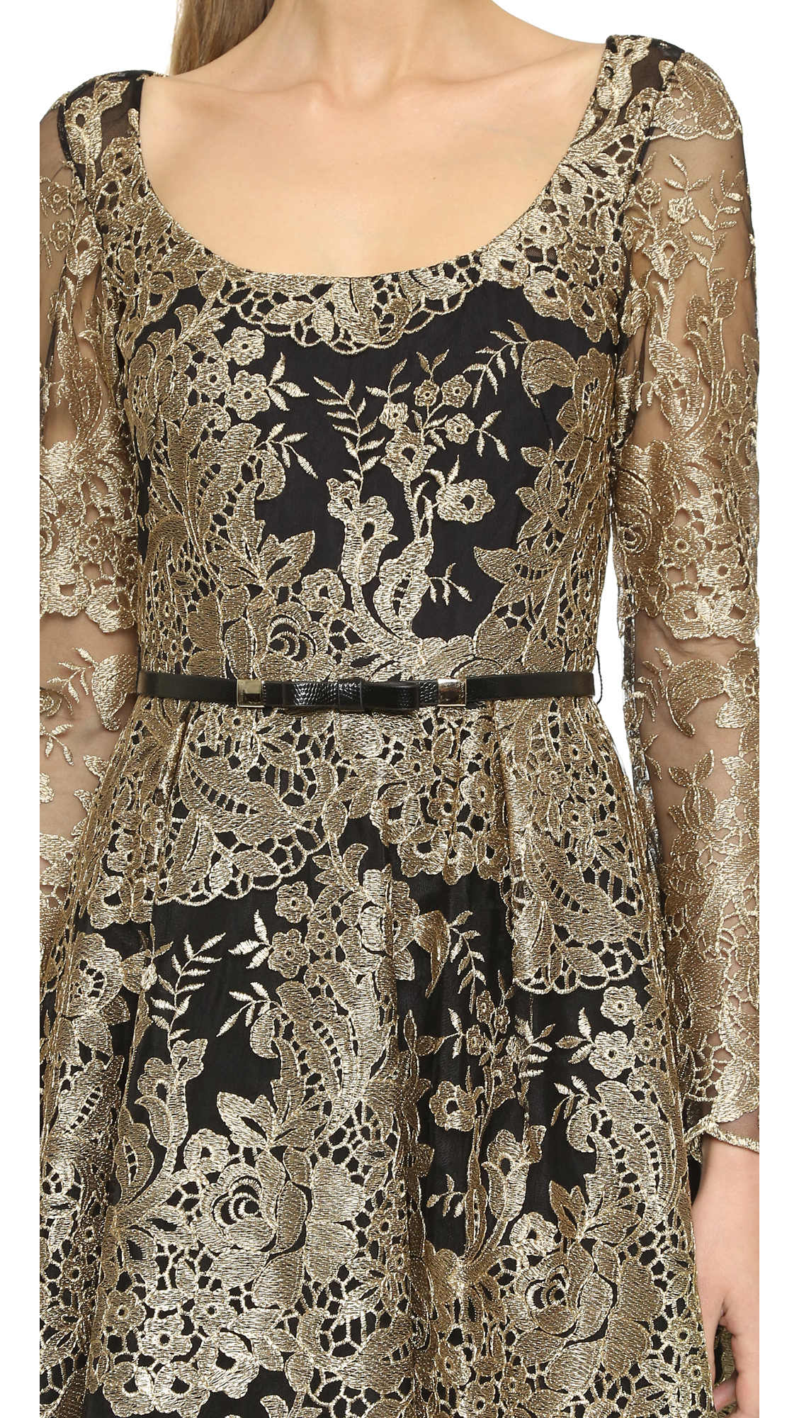 f0f7ab82471a2 Marchesa notte Long Sleeve Lace Dress - Black/gold in Black - Lyst