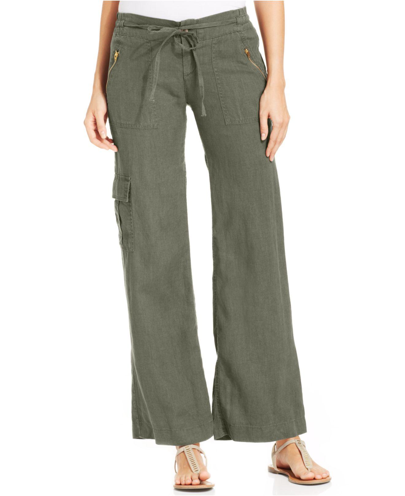 Kut from the kloth Wide-Leg Linen Pants in Green | Lyst