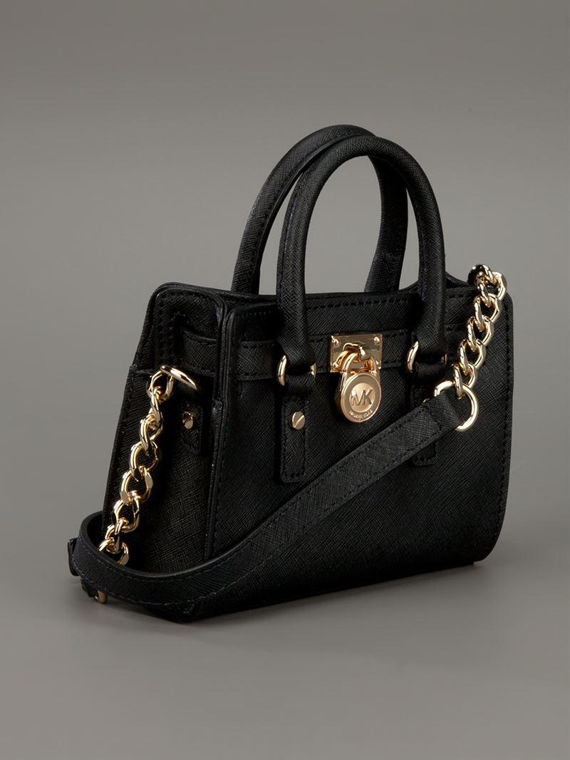 michael michael kors mini 39 hamilton 39 cross body bag in black lyst. Black Bedroom Furniture Sets. Home Design Ideas