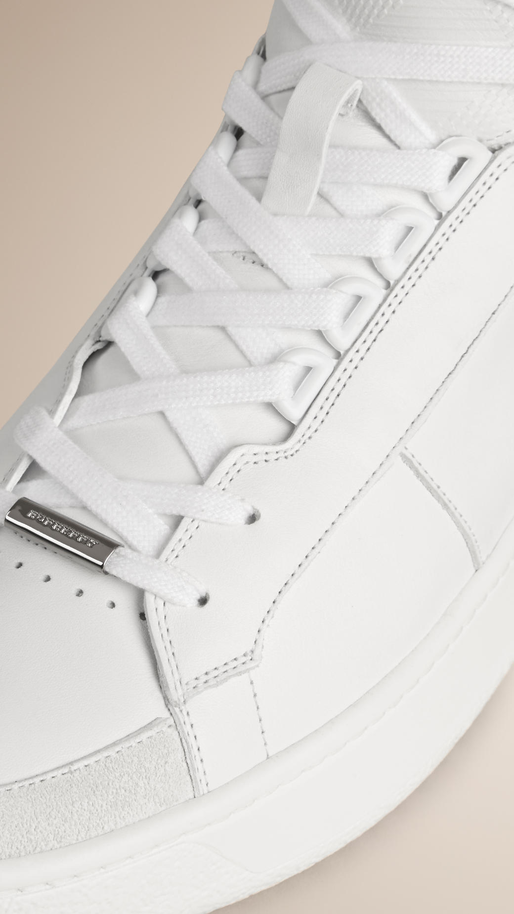 Leather and Suede High-top Sneakers - White Burberry Fast Express Newest Online Sale Deals 579mIpg