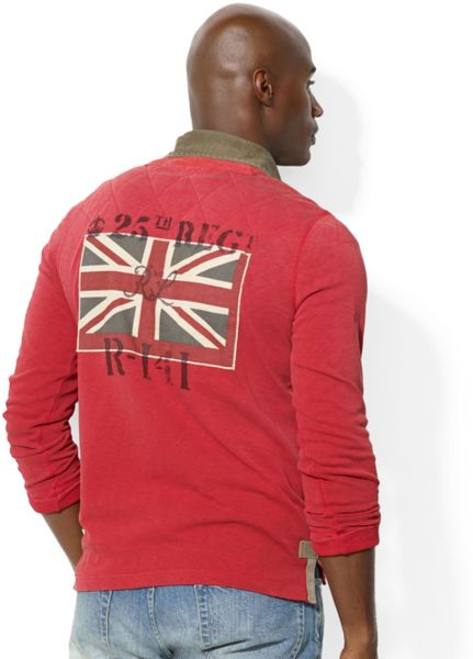 Ralph lauren polo big and tall artillery rugby in red for for Big and tall polo rugby shirts