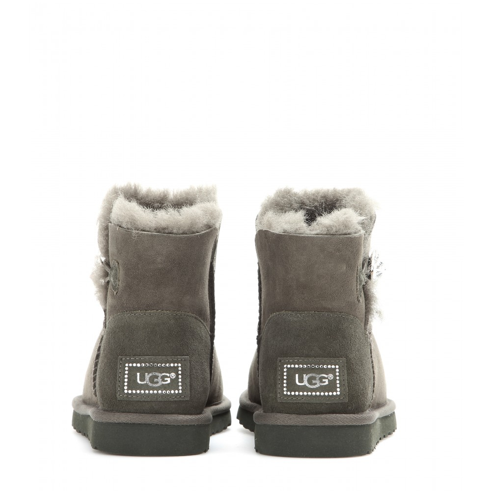UGG Mini Bailey Button Bling Ankle Boots in Green