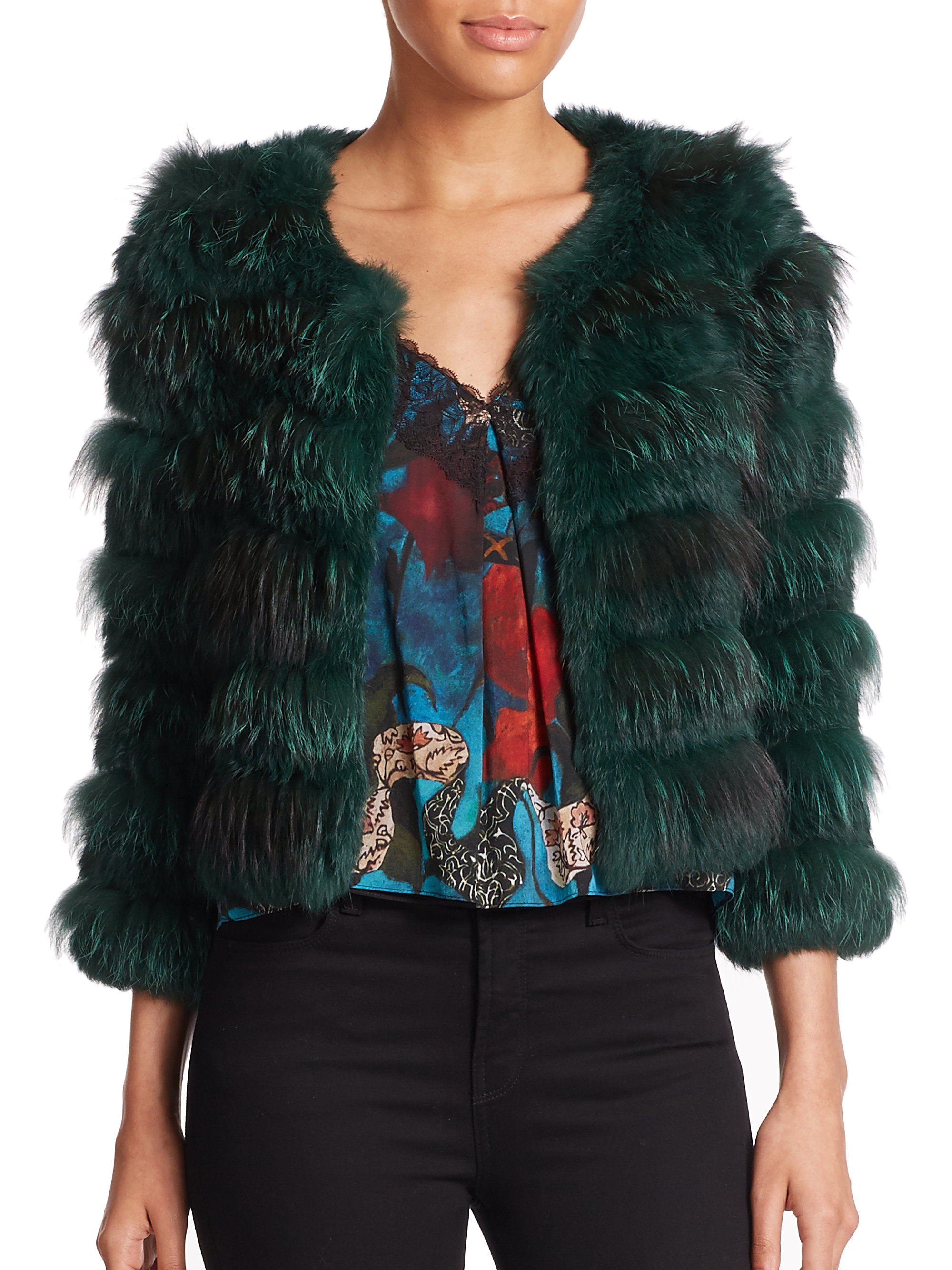 lyst alice olivia cropped fox and rabbitfur jacket in