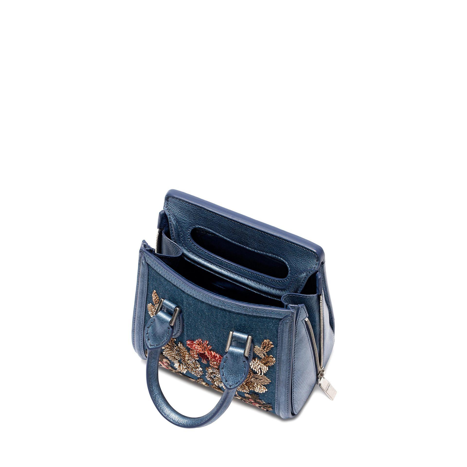 4974698dfd Alexander Mcqueen Washed Denim Embroidered Mini Heroine in Blue - Lyst