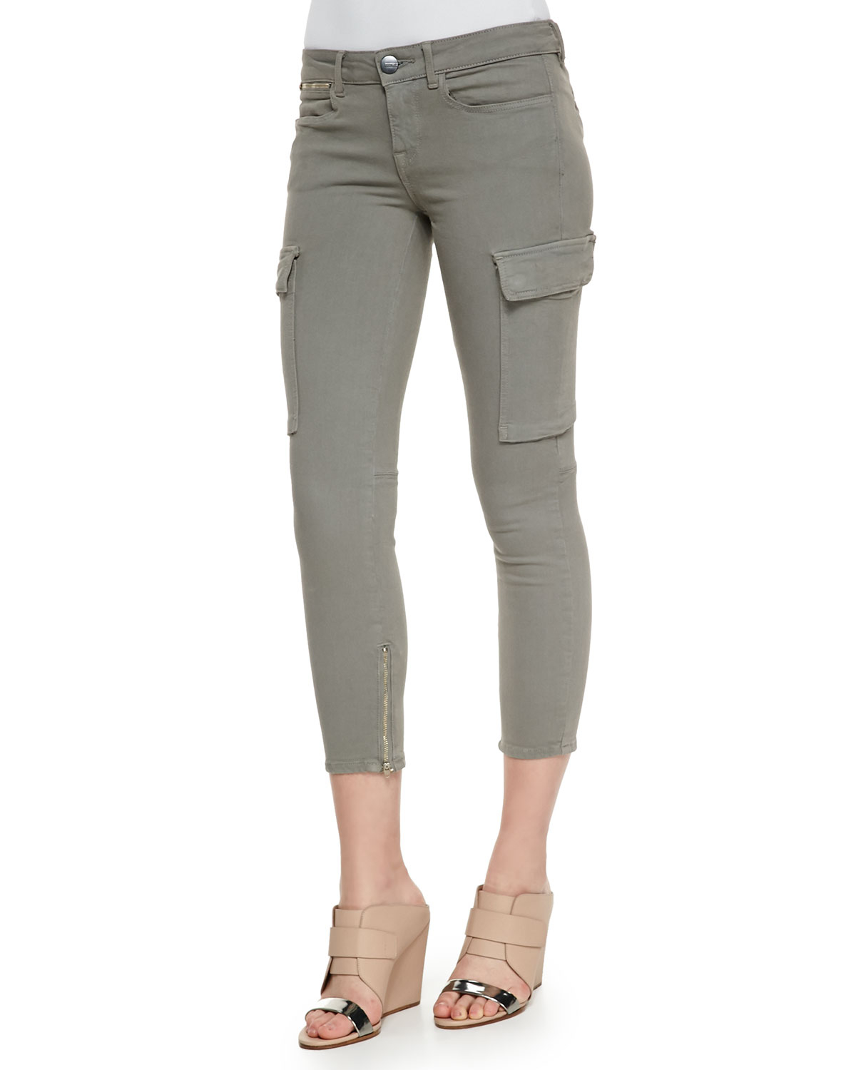 Vince Riley Cropped Cargo Skinny Pants in Green | Lyst