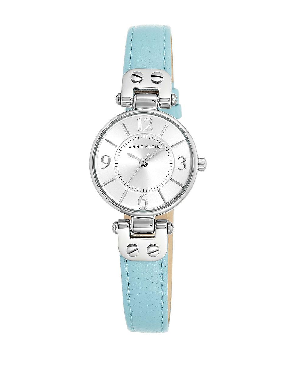 Lyst Anne Klein Round Silvertone Leather Strap Bracelet Watch In Blue Fossil Idealist Silver Es4194 Gallery