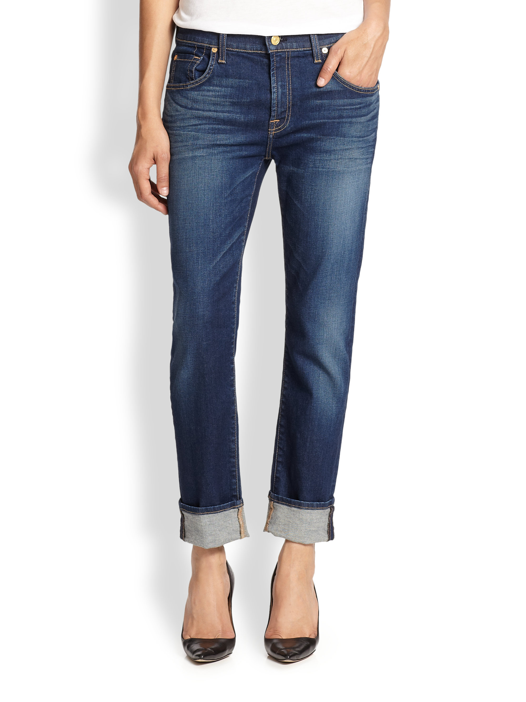 7 for all mankind Relaxed Skinny Boyfriend Jeans in Blue | Lyst