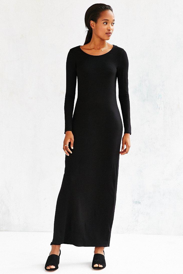 Silence   noise Open-back Long-sleeve Maxi Dress in Black - Lyst