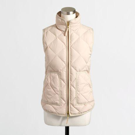J Crew Factory Quilted Puffer Vest In Beige Warm Bisque