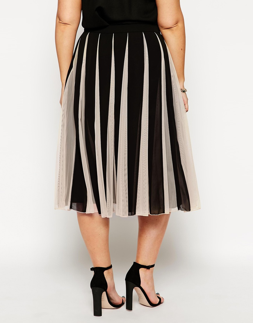 Asos fit flare skirt with mesh inserts in black lyst