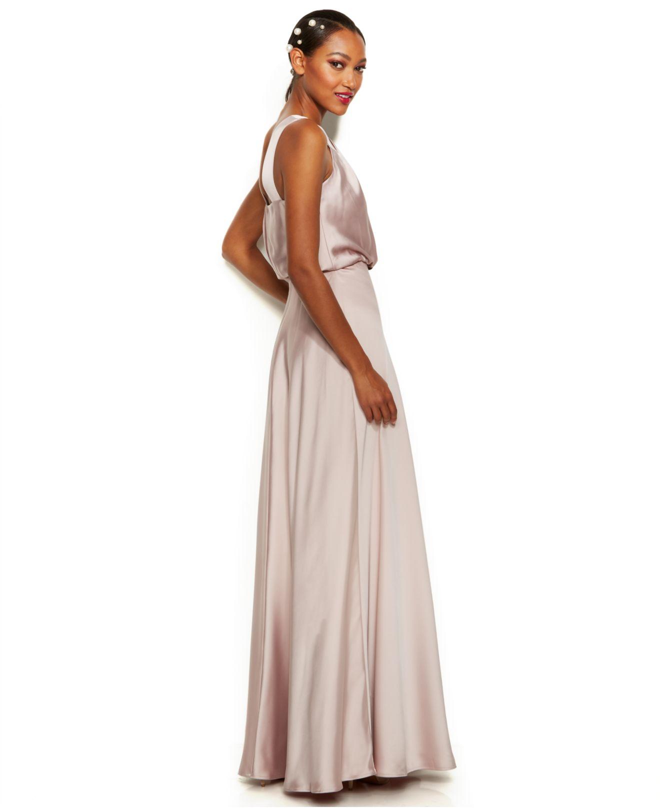Turmec » calvin klein dress sleeveless one-shoulder evening gown