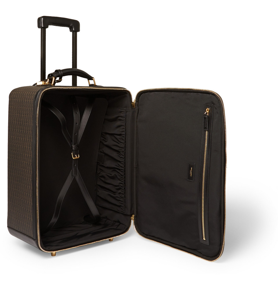 saint laurent monogrammed leather wheeled suitcase in brown for men
