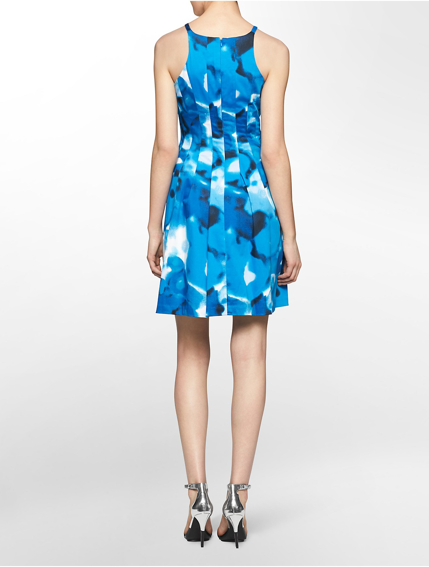 Calvin Klein White Label Floral Print Halter Fit Flare