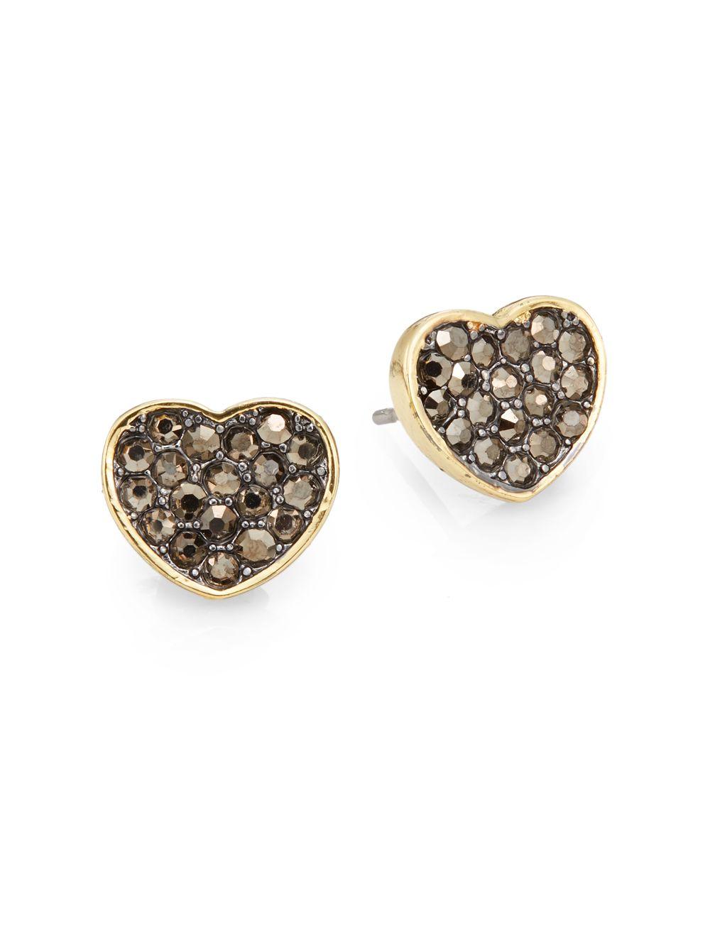 Saks Fifth Avenue Pav 233 Heart Stud Earrings In Metallic Lyst