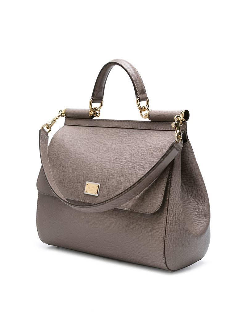 Dolce Amp Gabbana Large Sicily Tote In Gray Lyst