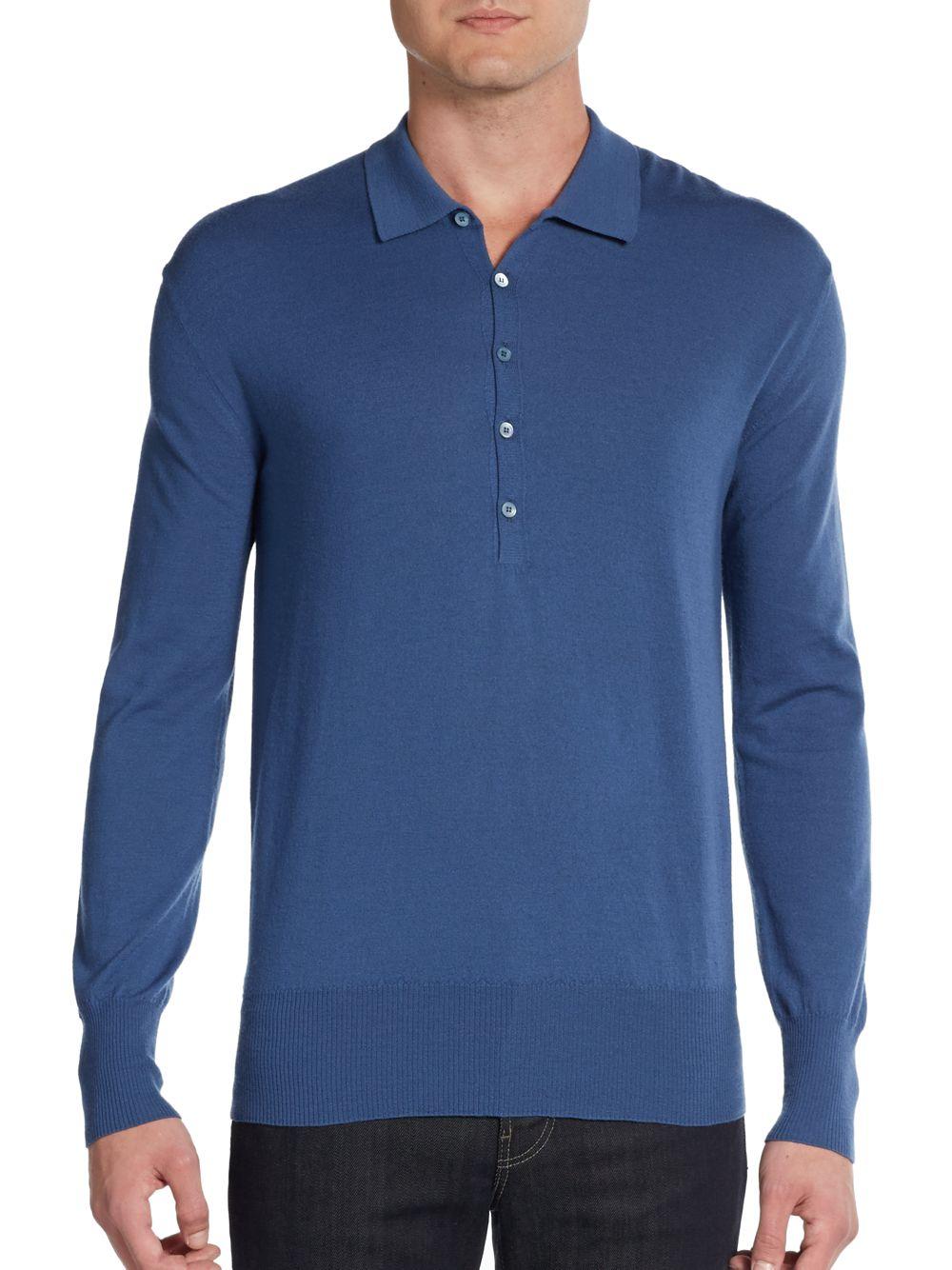 Lyst burberry prorsum merino wool long sleeve polo shirt for Long sleeve wool polo shirts