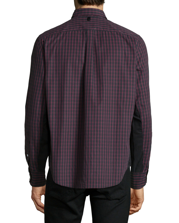 Rag Bone Tartan Plaid Long Sleeve Sport Shirt In Red For