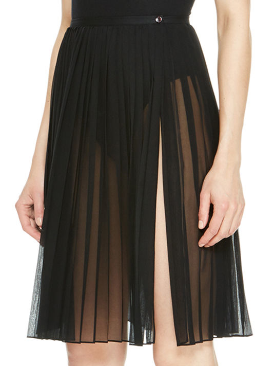 dkny sheer pleated skirt in black lyst