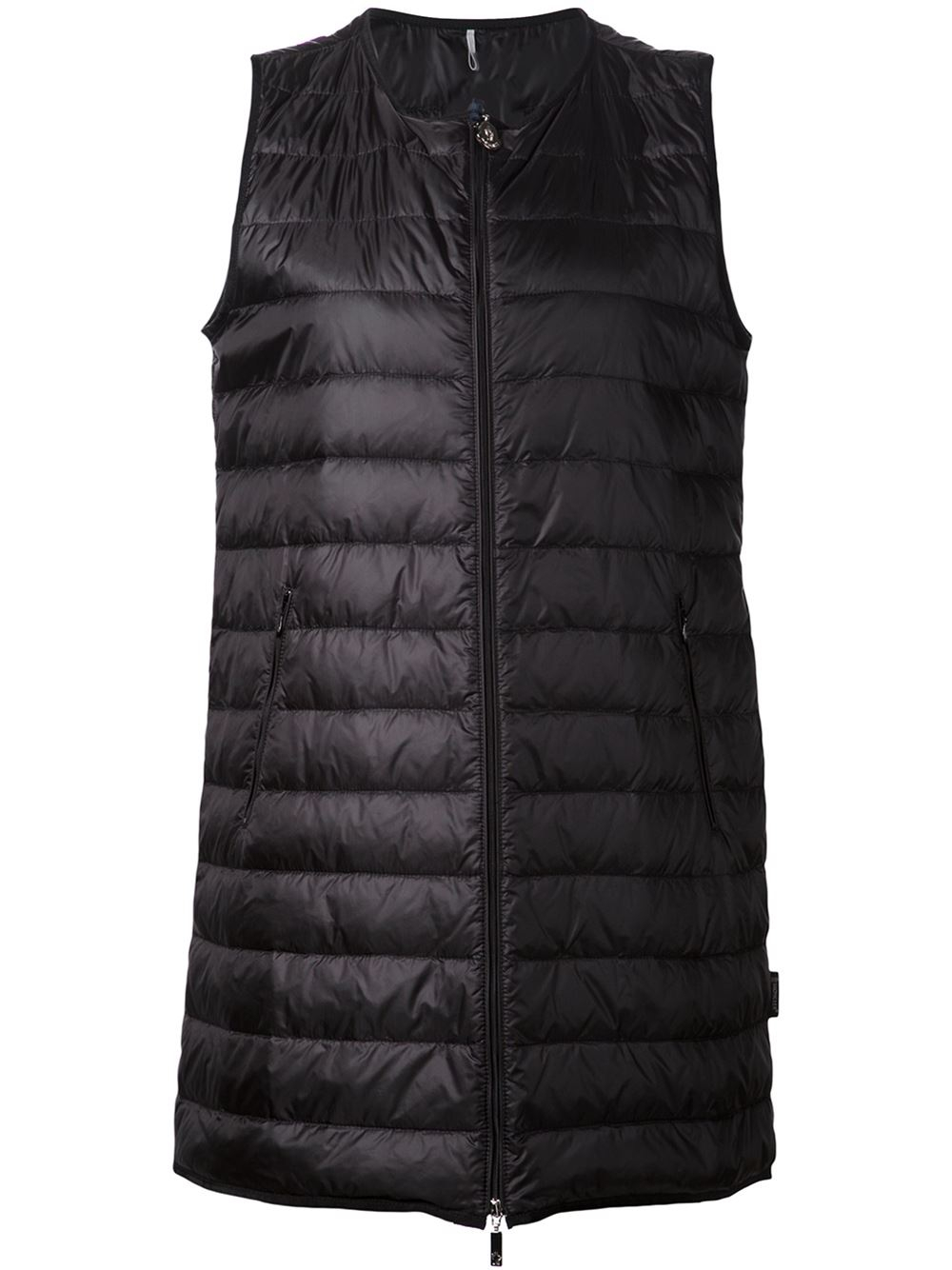 Moncler Long Quilted Gilet In Black Lyst