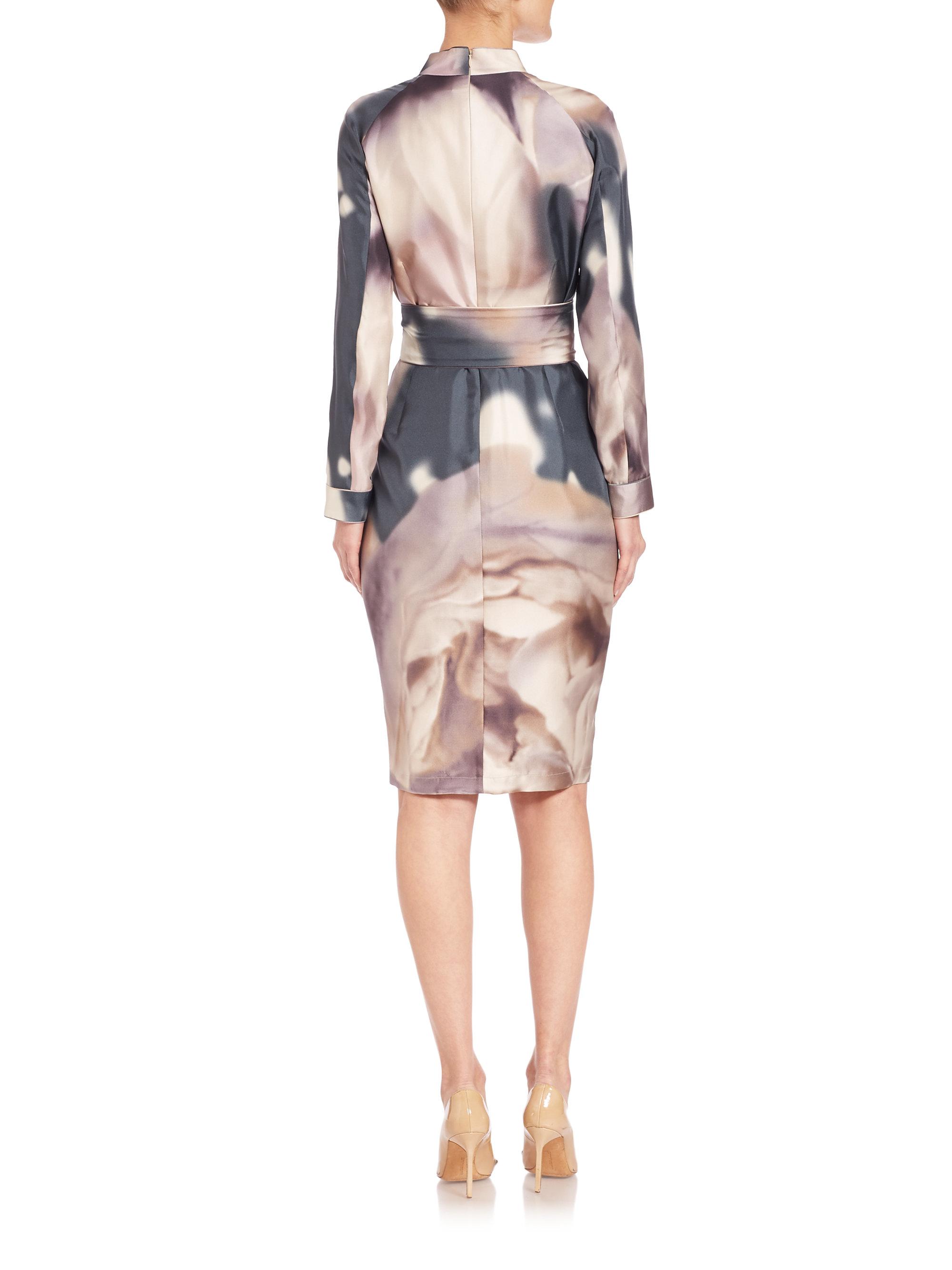 Max Mara Stresa Silk Watercolor Dress - Lyst