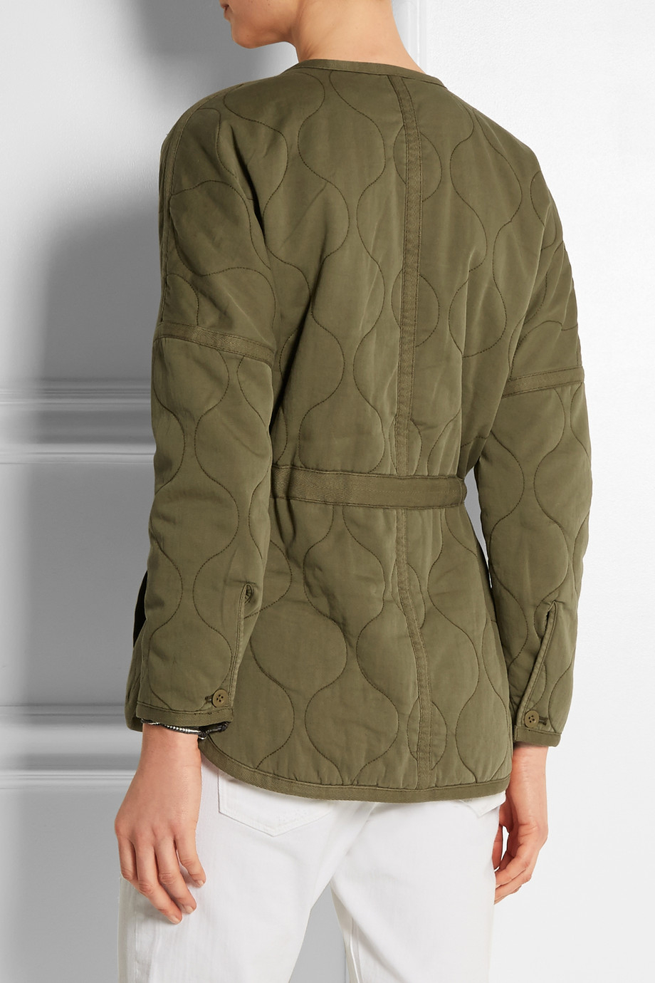 Green quilted jacket women
