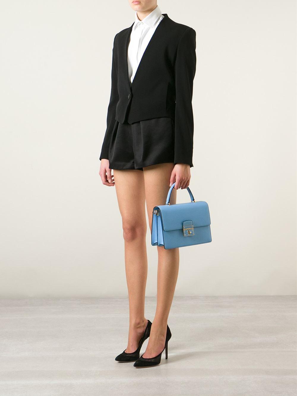 a6e643a856 Dolce   Gabbana Rosalia Calf-Leather Shoulder Bag in Blue - Lyst