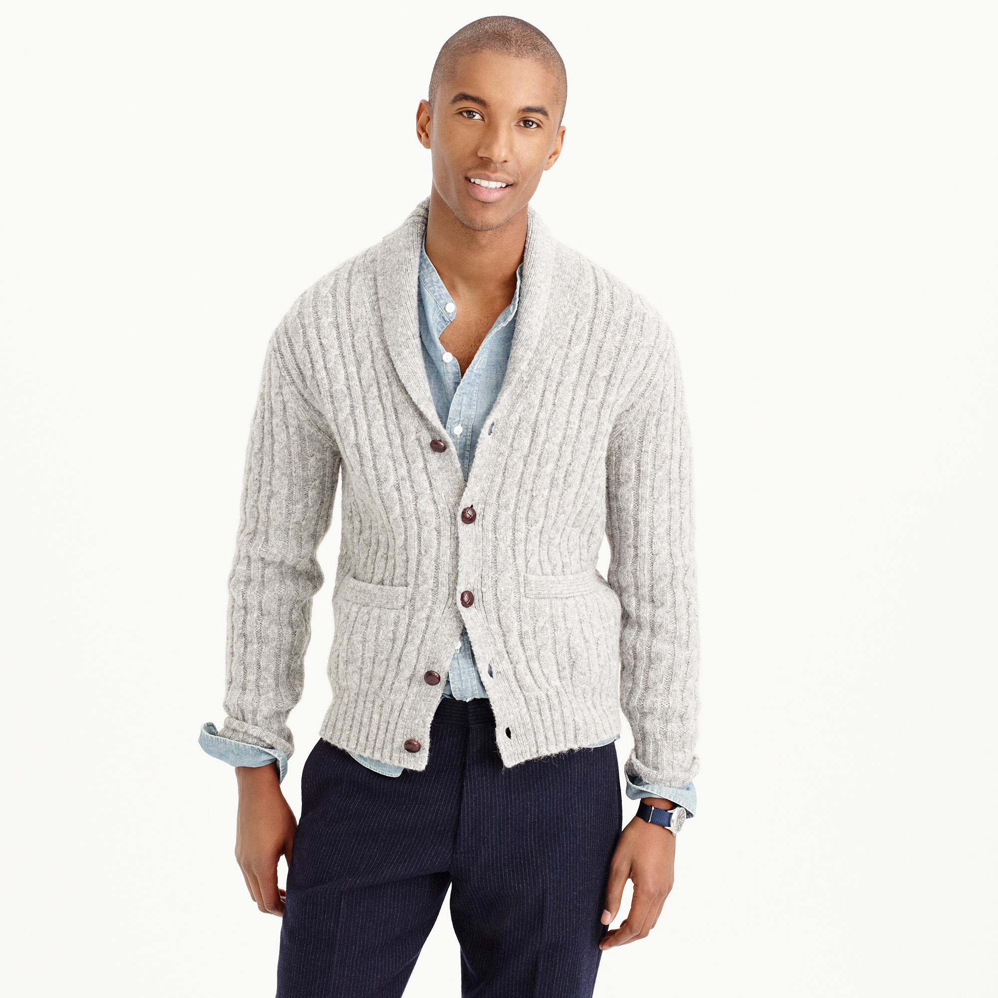 J.crew Wallace & Barnes Wool Cable Cardigan in Metallic for Men | Lyst