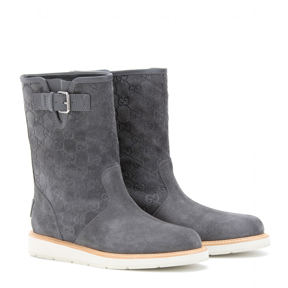 Lyst Gucci Quercy Suede Ankle Boots In Gray