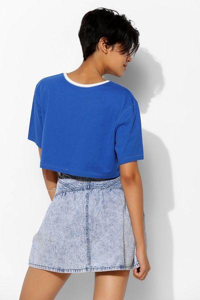 bdg baby back bib denim skirt in blue rinsed denim lyst
