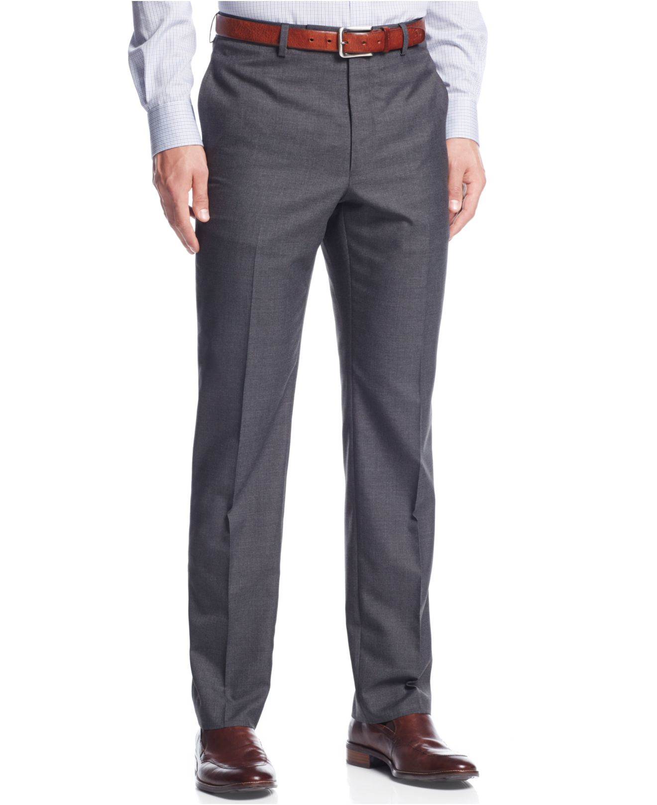 Lyst Calvin Klein Light Grey Plaid Slim Fit Dress Pants