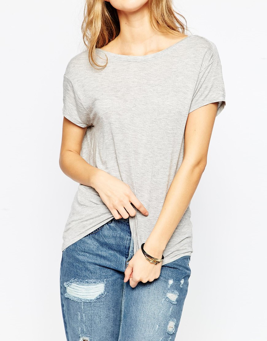 Lyst Asos T Shirt With Scoop Back Grey In Gray