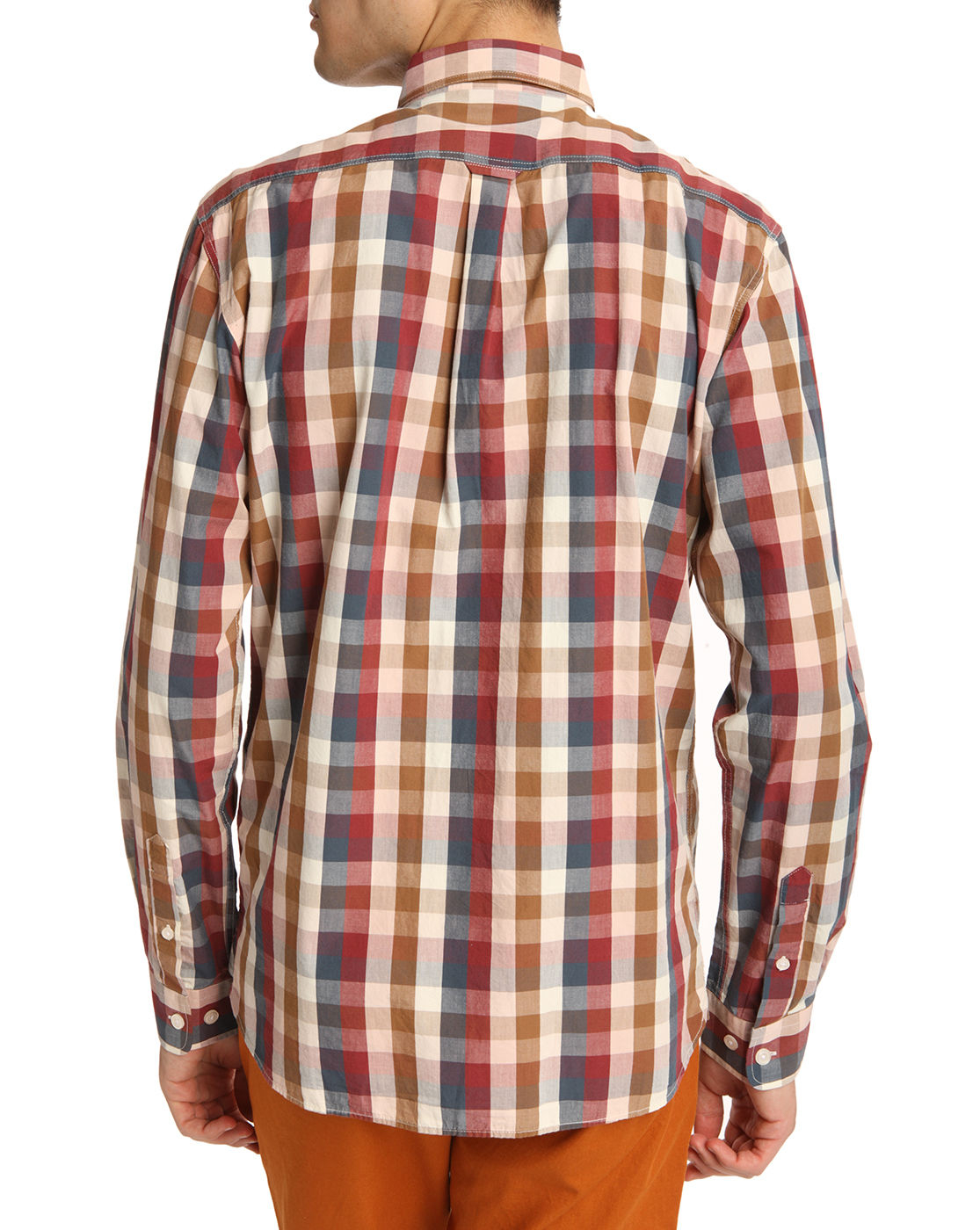 Knowledge Cotton Apparel Button Down Shirt With Burgundy