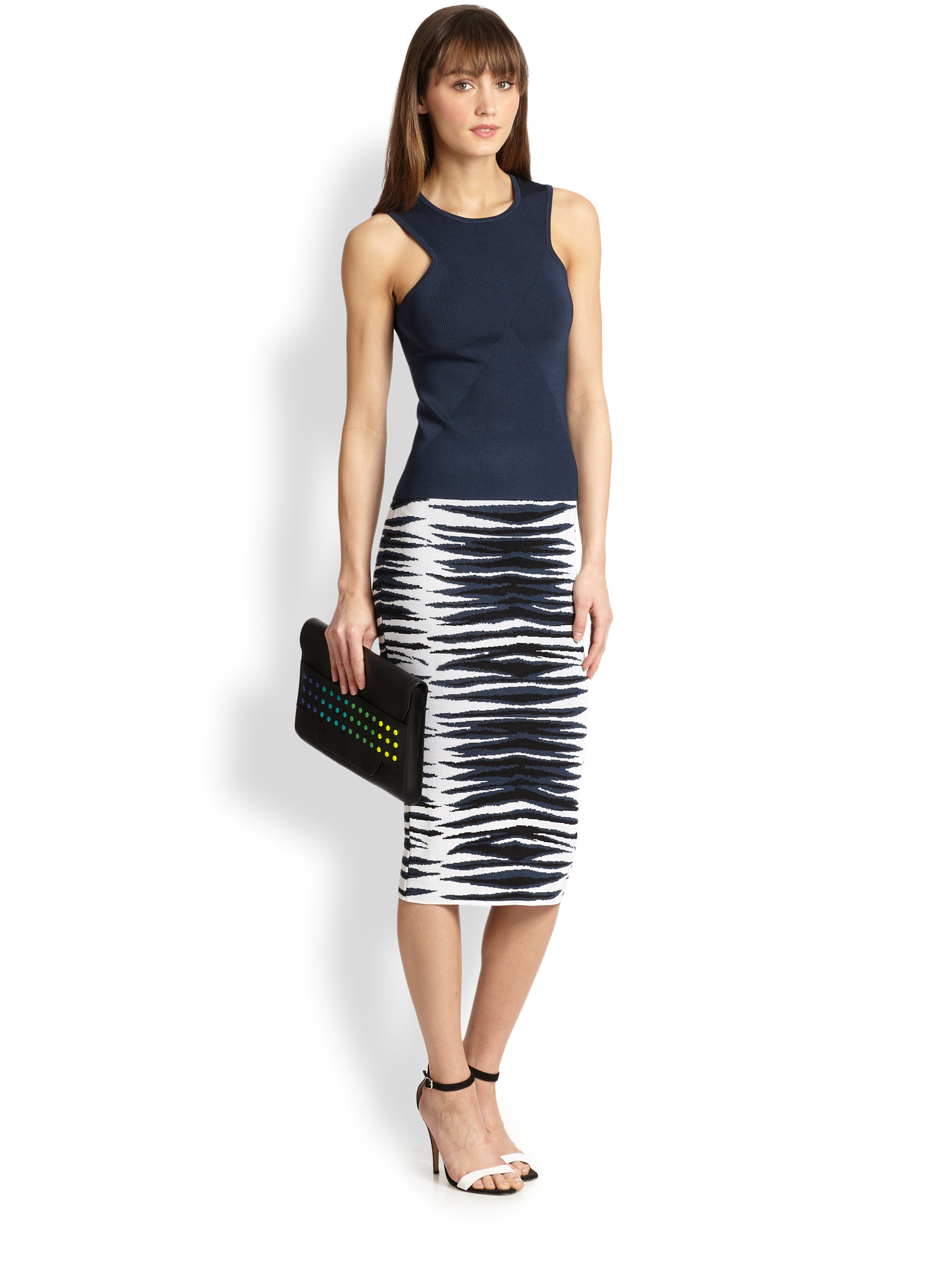 Milly Ikat Knit Midi Pencil Skirt | Lyst