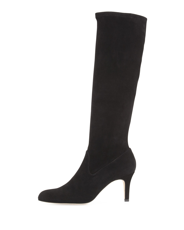ea0c2c14bfb31 Lyst - Manolo Blahnik Pascaputre Suede Knee Boot in Black