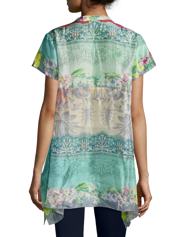 Lyst Johnny Was Nellis Short Sleeve Printed Silk Tunic