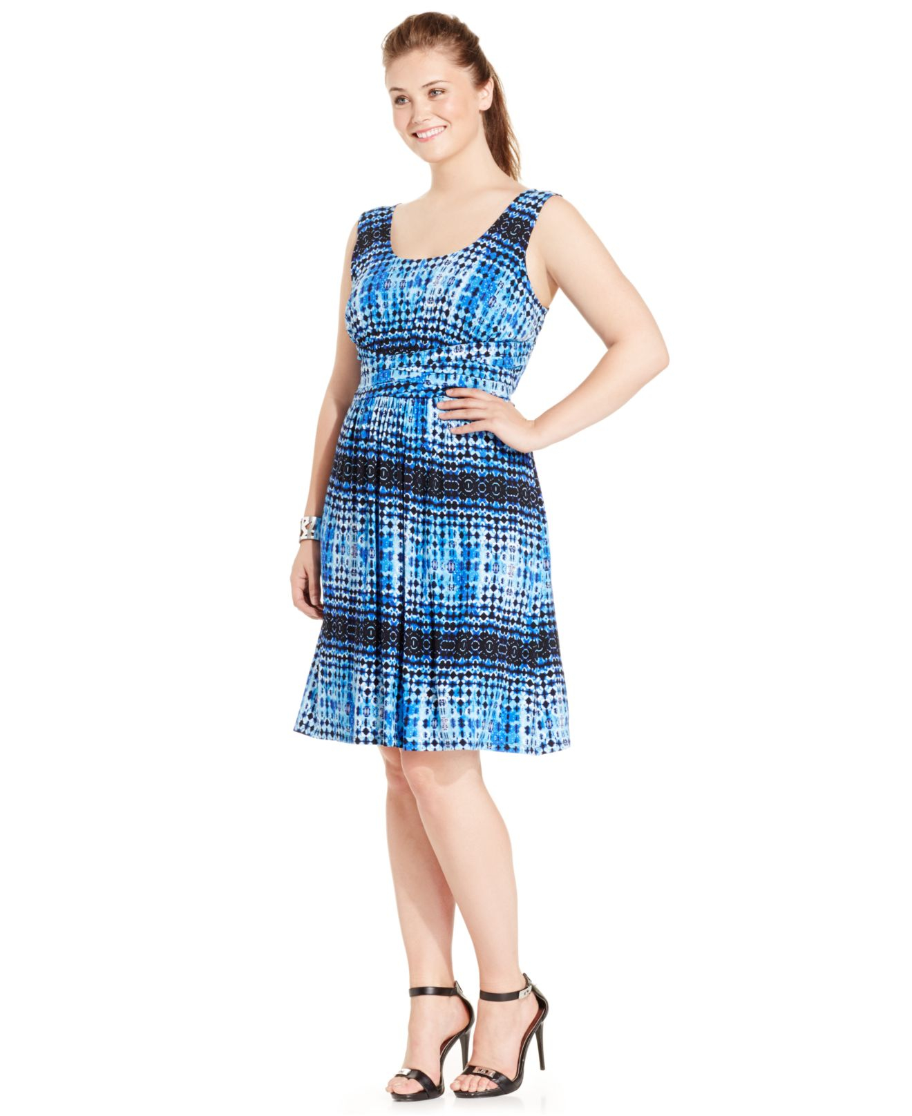 Spense Plus Size Printed Empire-waist Dress in Blue | Lyst