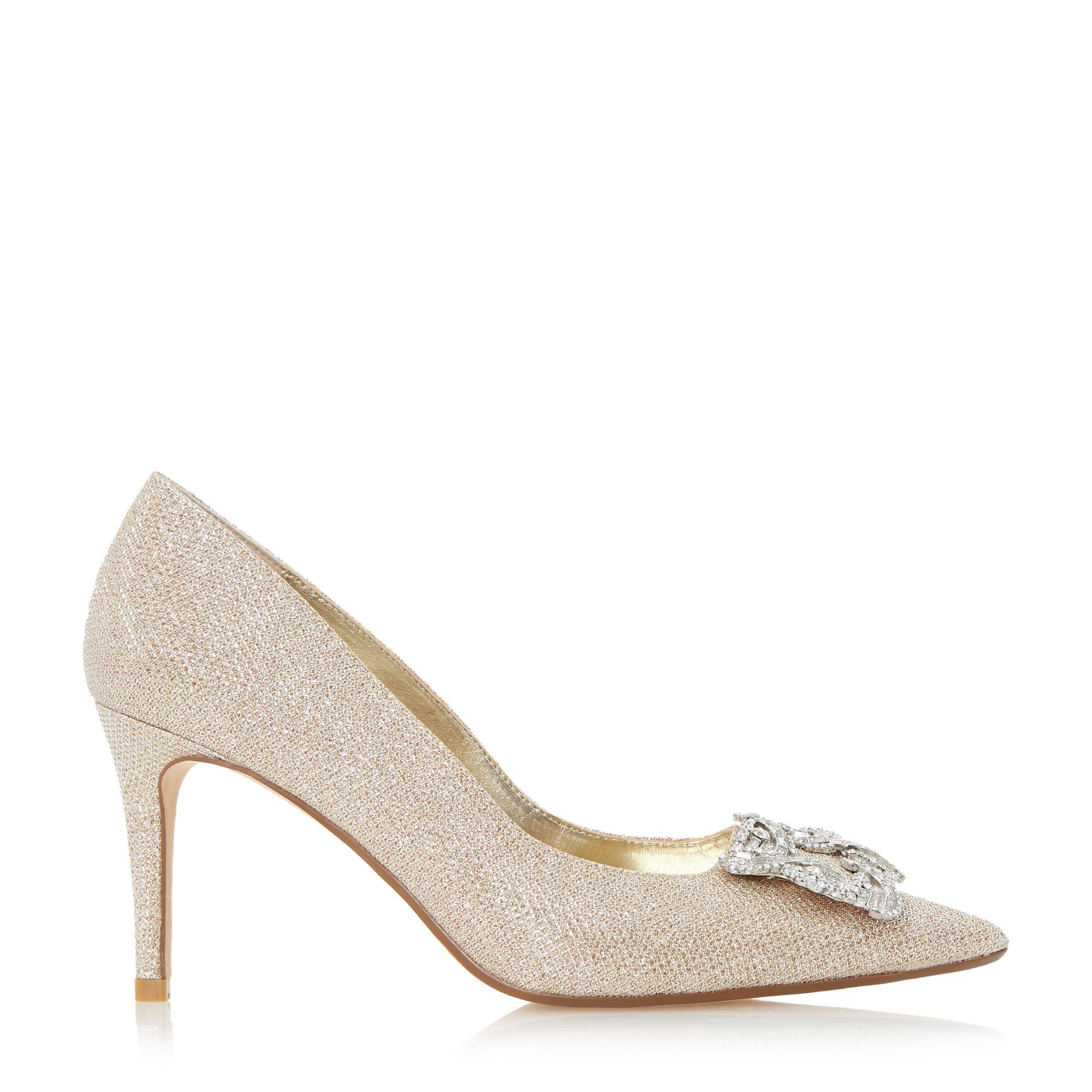 Dune Betti Jewelled Mid Heel Court Shoes In Metallic