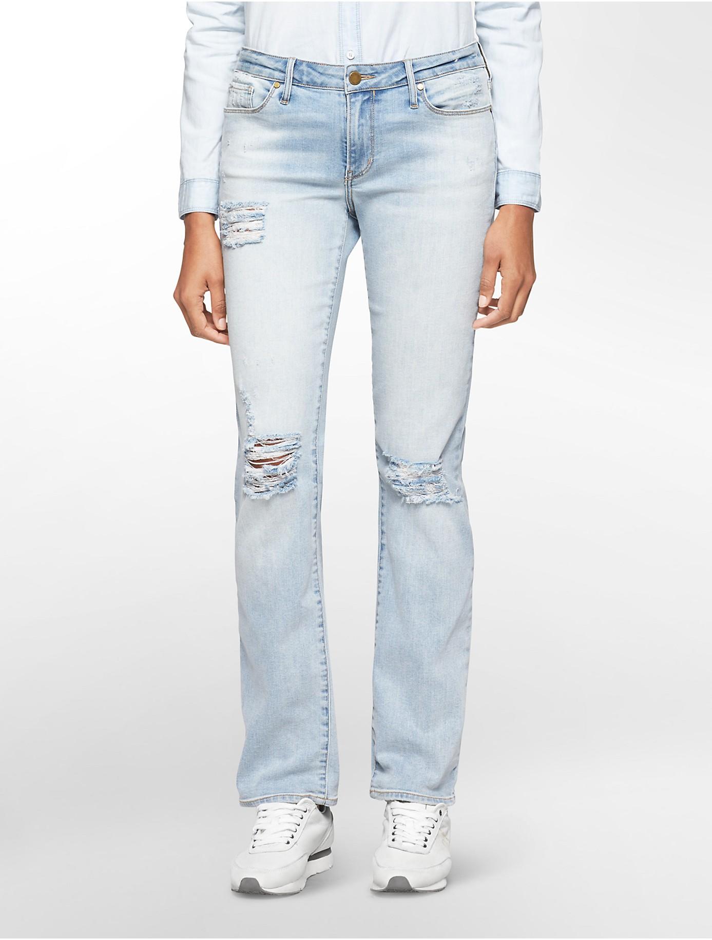 Calvin klein Jeans Straight Leg Destroyed Light Wash Jeans in Blue ...